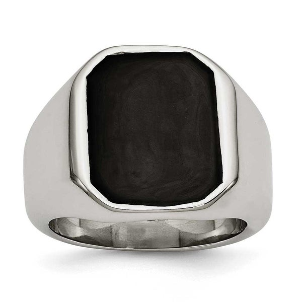 Chisel Stainless Steel Polished Enameled Ring