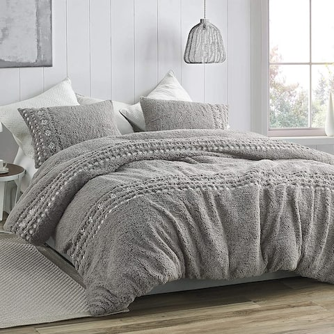 Teddy Stitch - Coma Inducer Oversized Comforter - Gray and White Embroidery