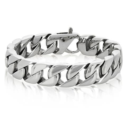 Stainless Steel Polished Curb Chain Bracelet - 8.5 Inches (16 mm Wide)