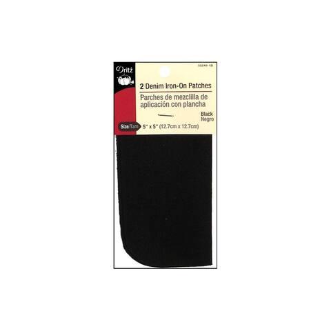 Dritz Patch Iron On 5x5 Denim Black 2pc