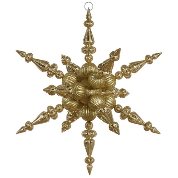 """30"""" Gold Commercial Shatterproof Radical 3-D Snowflake Christmas Ornament"""