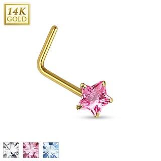 14Kt Gold Prong Star CZ L Bend Nose Ring - 20GA (Sold Ind.)