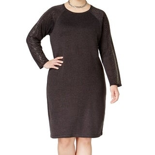 Calvin Klein NEW Gray Womens Size 2X Plus Embellished Sweater Dress