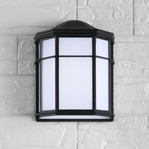 """Henry 7.75"""" Outdoor Metal Integrated Sconce, Black/White by JONATHAN Y"""