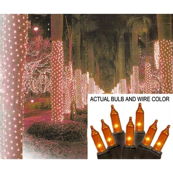 2' x 8' Orange Mini Christmas Net Style Tree Trunk Wrap Lights - Brown Wire