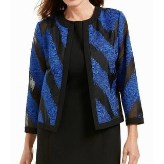 Link to Kasper Women's Jacket Blue Size 12 Embroidered Stripe Textured Similar Items in Women's Outerwear