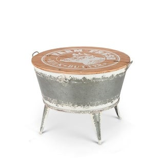 26 Gray and Brown White Washed Galvanized Beverage Tub Stand with Lid