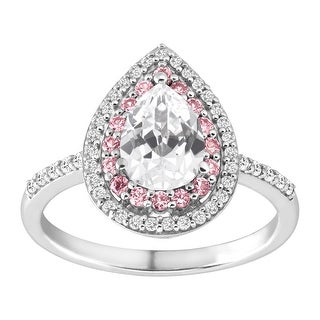 2 ct Created White & Pink Sapphire pear-Shaped Ring in Sterling Silver