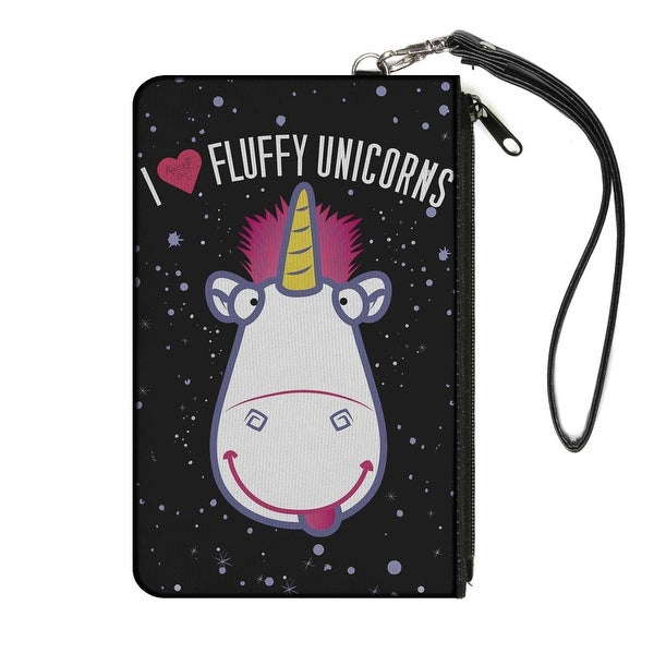 "Agnus' Unicorn Face I ""Heart"" Fluffy Unicorns Stars Black Lavender Canvas Canvas Zipper Wallet"