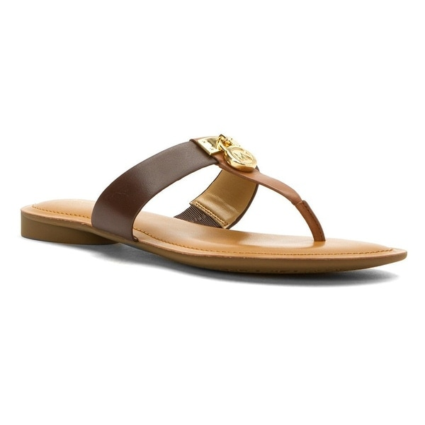 MICHAEL Michael Kors Womens HAMILTON FLAT Split Toe Casual T-Strap Sandals