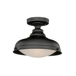 Vaxcel Lighting C0113 Keenan 2 Light Semi-Flush Ceiling Fixture with White Glass Shade