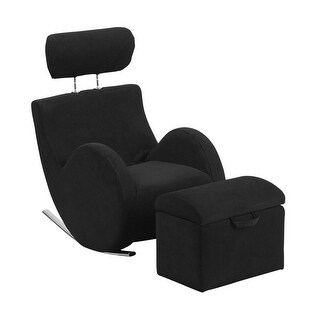 Offex Hercules Series Black Fabric Rocking Chair with Storage Ottoman
