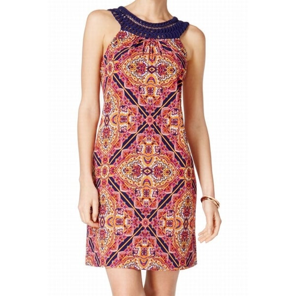 Jessica Howard Orange Womens Size 14 Crochet-Trim Sheath Dress