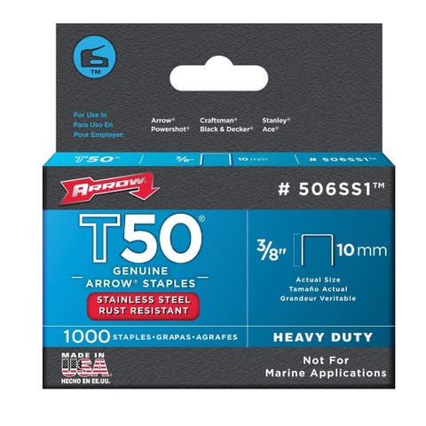 Arrow Fastener 506SS1 Stainless Steel T50 Staples, 3/8""