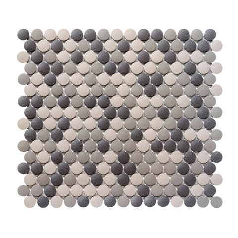 Emser Tile W71ZONE1212MOP Zone - Round Penny Mosaic Floor and Wall Tile - Matte Floor and Wall Tile Visual -