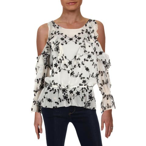 Joie Womens Pullover Top Silk Cold Shoulder - L