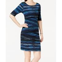 Connected Apparel Blue Womens Size 6 Striped Printed Sheath Dress
