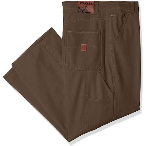 Stanley Mens Pants Coffee Brown Size 38 Work Stretch Canvas Carpenter