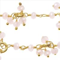 Gold Vermeil Wire Wrapped Gemstone Chain, 3.5mm Rose Quartz Dangle Drops, 1 Inch, Pink