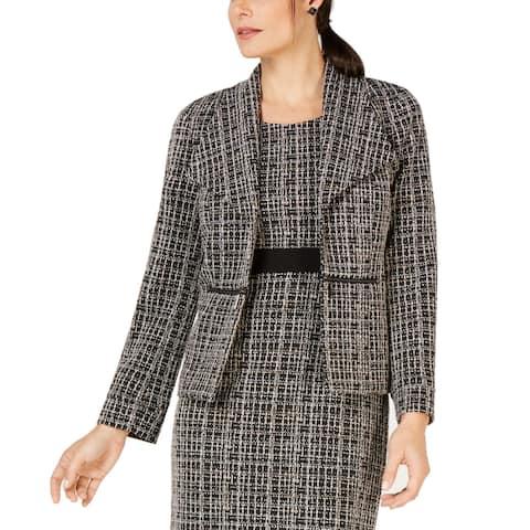 Kasper Womens Blazer Jacket Black Size 10 Tweed Wing Lapel Jacquard