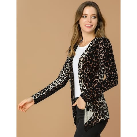Unique Bargains Women Long Sleeves Open Front Leopard Prints Cardigan