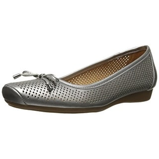 Naturalizer Womens Vanessa Leather Square Toe Ballet Flats