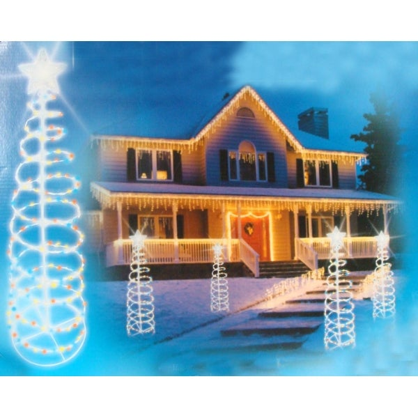 6' Multi-Color Lighted Spiral Christmas Tree Outdoor Decoration - multi