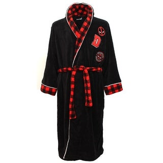 Marvel Deadpool Adult Plush Robe With Embroidered Patches