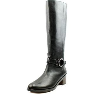 Coach Carolina Women Round Toe Leather Black Knee High Boot