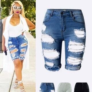 Denim Destroyed Bermuda Shorts Jeans