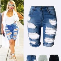 Denim Destroyed Bermuda Shorts Jeans