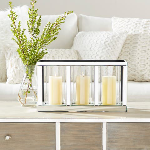 Silver Glass Glam Candle Holder 10 x 18 x 7 - 18 x 7 x 10