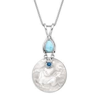 Sajen Mother of Pearl, Natural Topaz & Larimar Horse Medallion Pendant in Sterling Silver - Blue