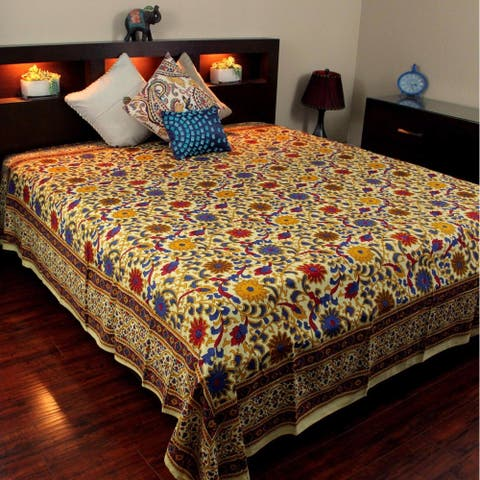 Handmade Cotton Sunflower Tapestry Queen Bedspread Full Tablecloth Lemon Yellow Twin, King