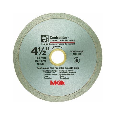 "MK Diamond 167028 Contractor Continuous Rim Diamond Blade, 4-1/2"""