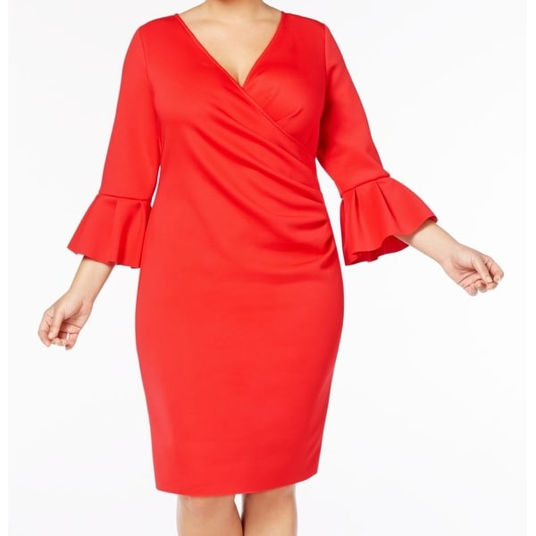 Betsy & Adam Red Women's Size 18W Plus Bell-Sleeve Sheath Dress