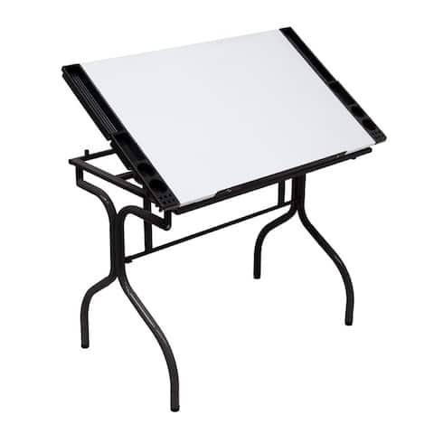 Offex Folding Craft Station Glass - Black/White