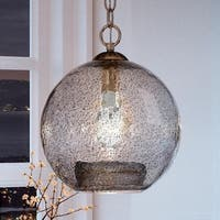 "Luxury Vintage Pendant Light, 14""H x 12""W, with Americana Style, Brushed Nickel Finish by Urban Ambiance"