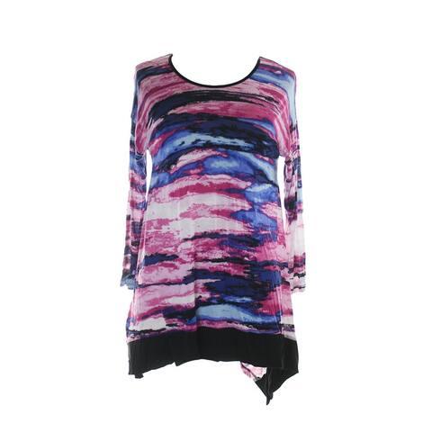 Kensie Pink Drop-Sleeve Printed Asymmetrical-Hem Tunic XS
