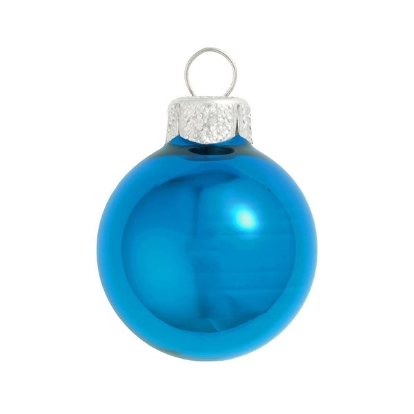 "28ct Shiny Wedgewood Blue Glass Ball Christmas Ornaments 2"" (50mm)"