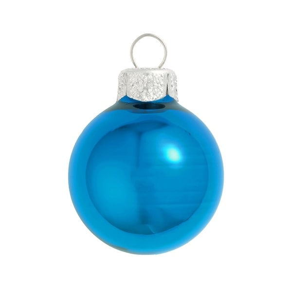 "40ct Shiny Wedgewood Blue Glass Ball Christmas Ornaments 1.25"" (30mm)"