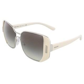 Prada PR 59SS USB0A7 Silver/Ivory Rectangular Sunglasses