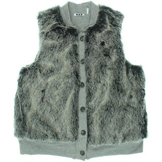 Three Dots Womens Knit Faux Fur Vest