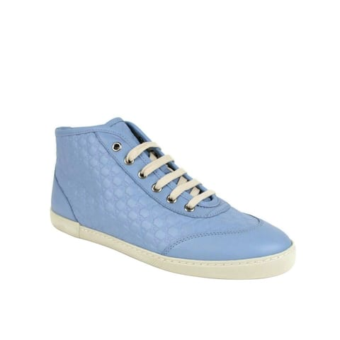Gucci Women's Mineral Blue Leather Hi-Top Sneaker 391499 4503