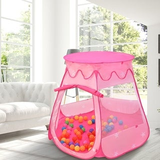 Costway Kid Outdoor Indoor Princess Play Tent Playhouse Ball Tent Toddler Toys w/ 100 Balls - Pink