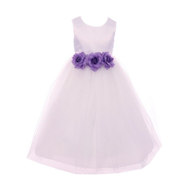 Shop Kids Dream Little Girls White Lilac Floral Satin Flower Girl