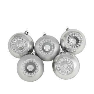 "5ct Shiny and Matte Silver Retro Reflector Shatterproof Christmas Ball Ornaments 3.25"" (80mm)"