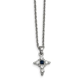 Silvertone Blue and Clear Crystal Cross Necklace - 16in