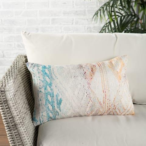 Nikki Chu Tribe Indoor/ Outdoor Tribal Multicolor/ White Lumbar Pillow