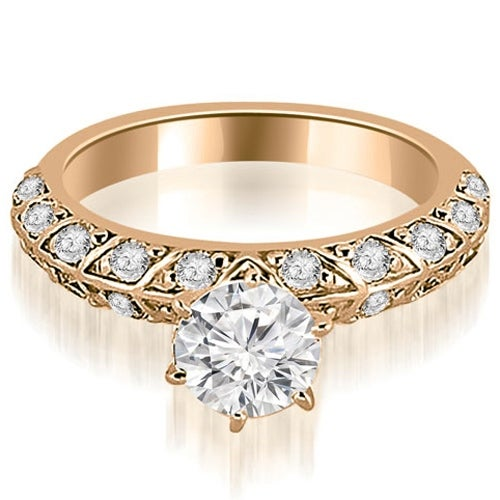 1.60 cttw. 14K Rose Gold Antique Round Cut Diamond Engagement Ring
